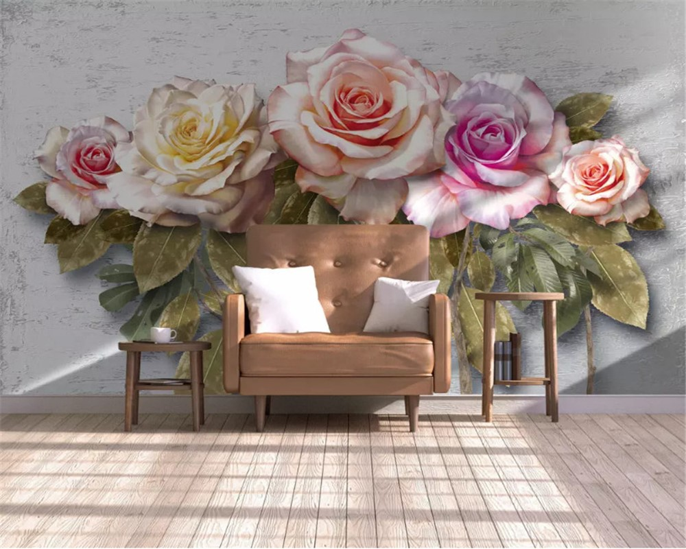 Flowers wall print with lounge chair in home