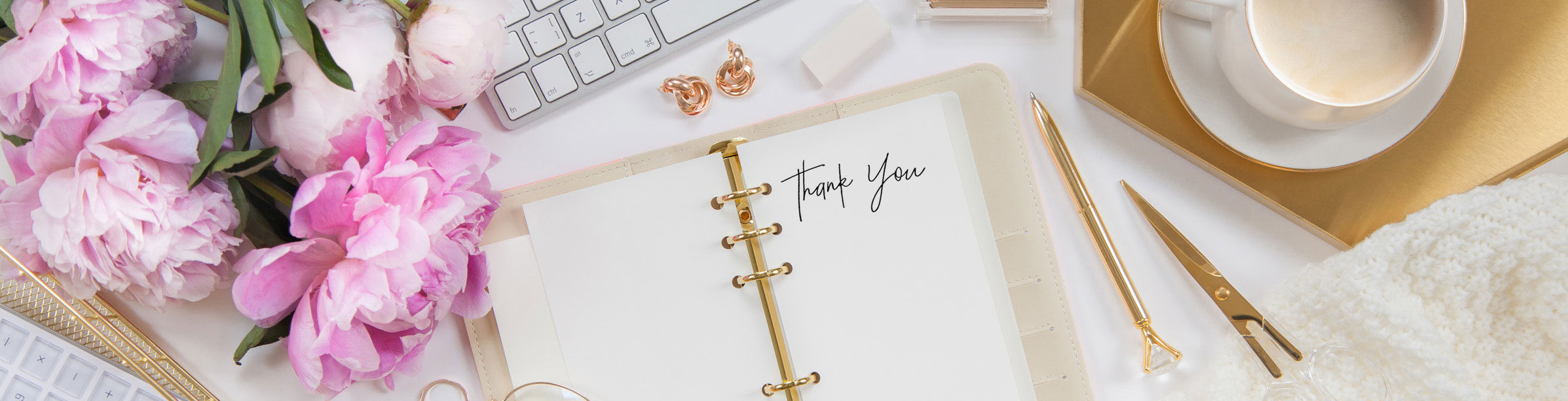 Diary with coffee saying thank you